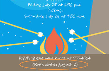 Rain date on invitation