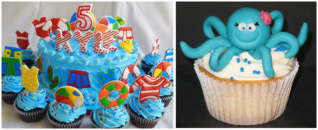 Beach and octopus cupcakes