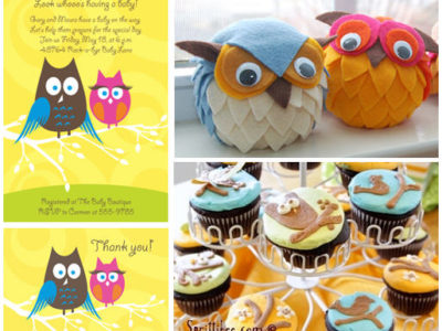 Owl couple baby shower