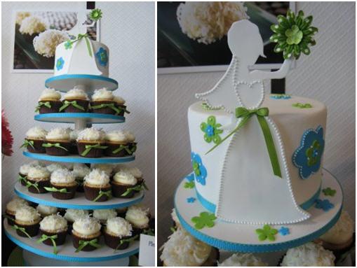 Blue brown bridal shower cake