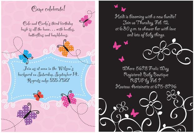 Butterfly custom invitations