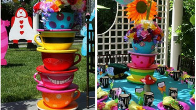 Mad hatter tea party cups