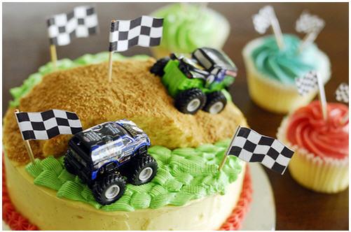 Monster truck race cake
