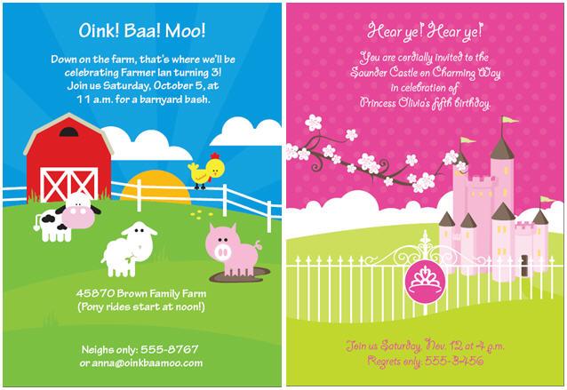 Farm and princess birthday themes