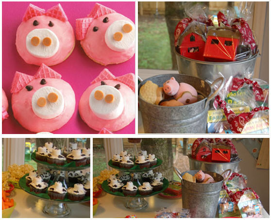 Pig and cow cupcakes