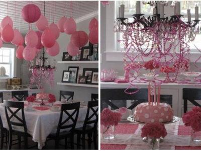 Pink birthday table