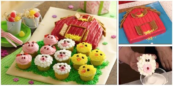 Barn farm animal party cake