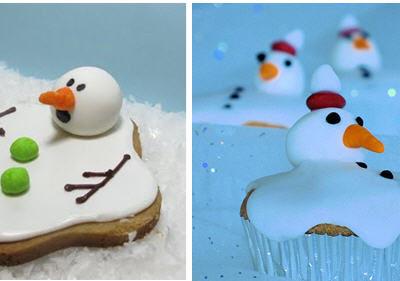 Melting snowman cookie cupcake