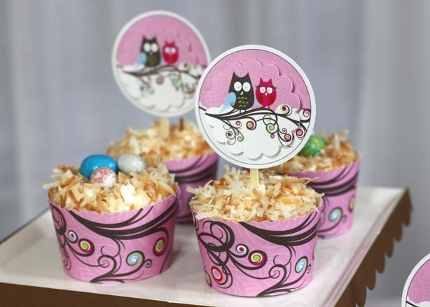 Thecelebrationshoppe owlcouplebabyshowercupcakes