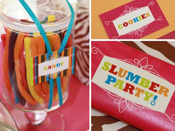 The celebration shoppe slumber party candy table