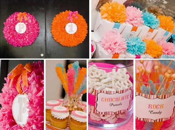 Pink orange 1st birthday party