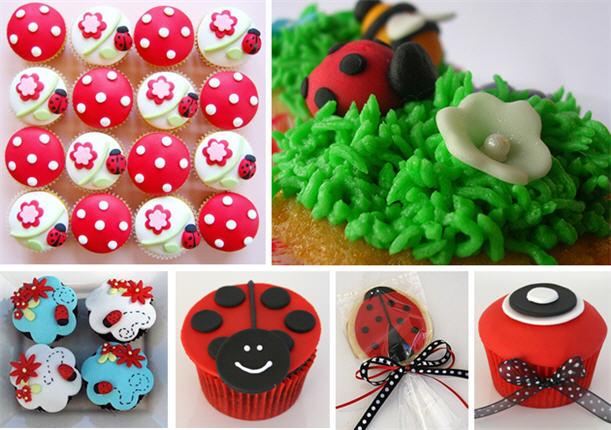 Ladybug cupcakes and cookies