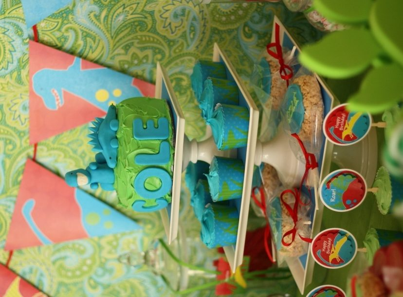 Dinosaur birthday party cake tier angle2