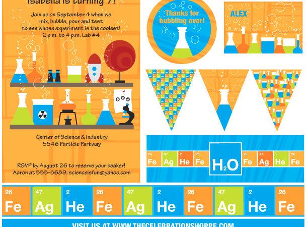 The celebration shoppe science party storyboard