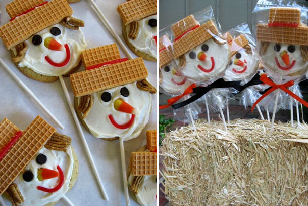 Scarecrow cookie pops from skip to my lou