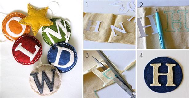 Dana at made blog felt monogrammed ornaments