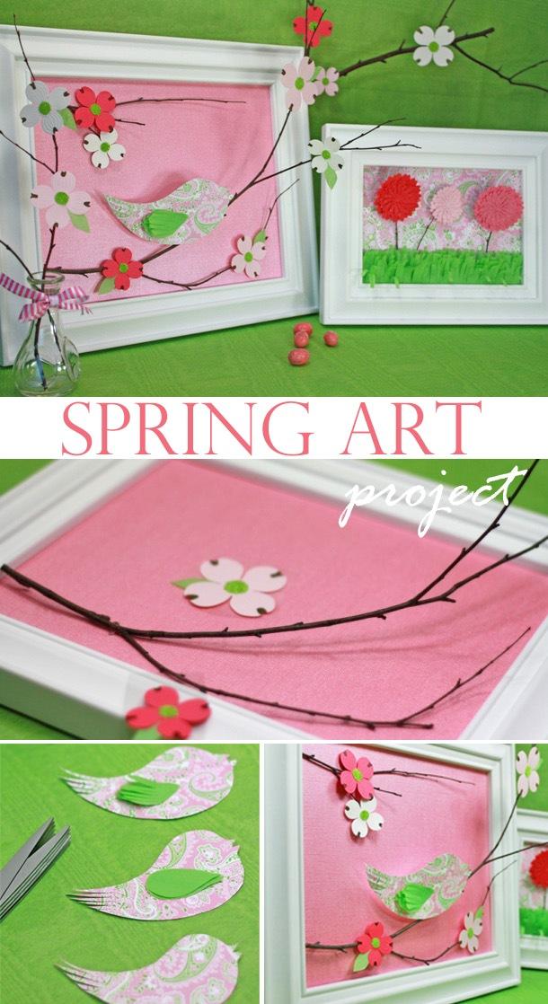 Spring 3 d framed art project