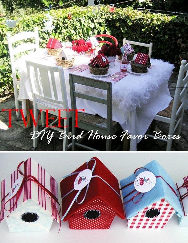 Diy bird house party favor box idea