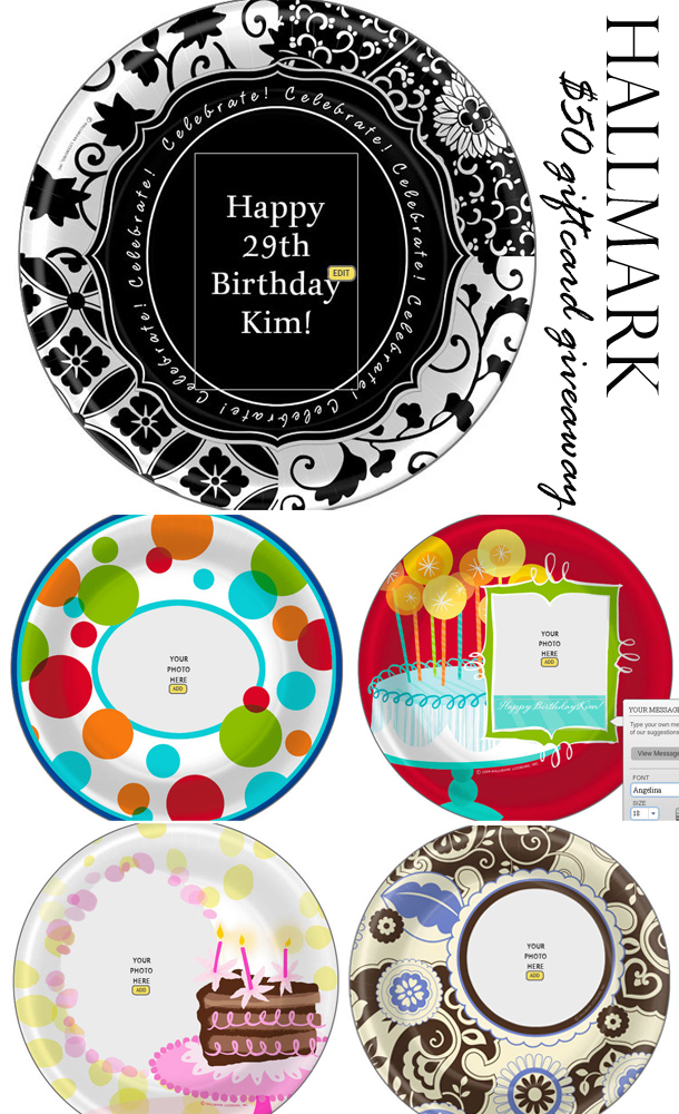 Hallmark personalized plates giveaway