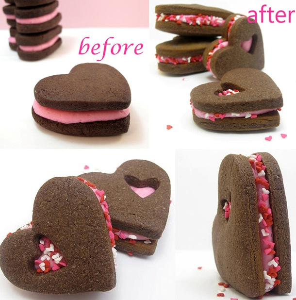The decorated cookie valentine hearts