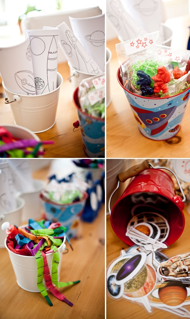Space birthday party activity buckets