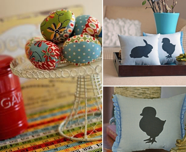 Fabric easter eggs and easter bunny pillow