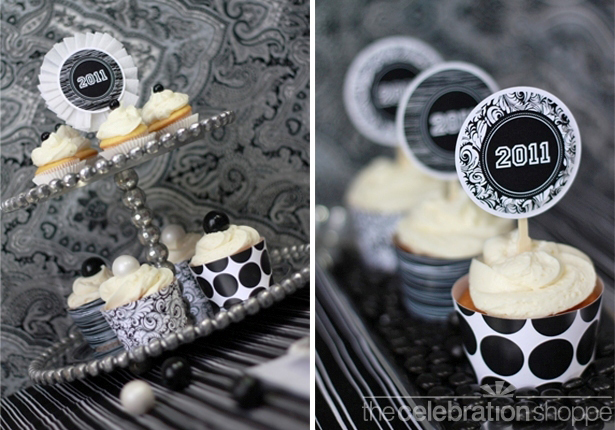 The celebration shoppe black white cupcake collage swl
