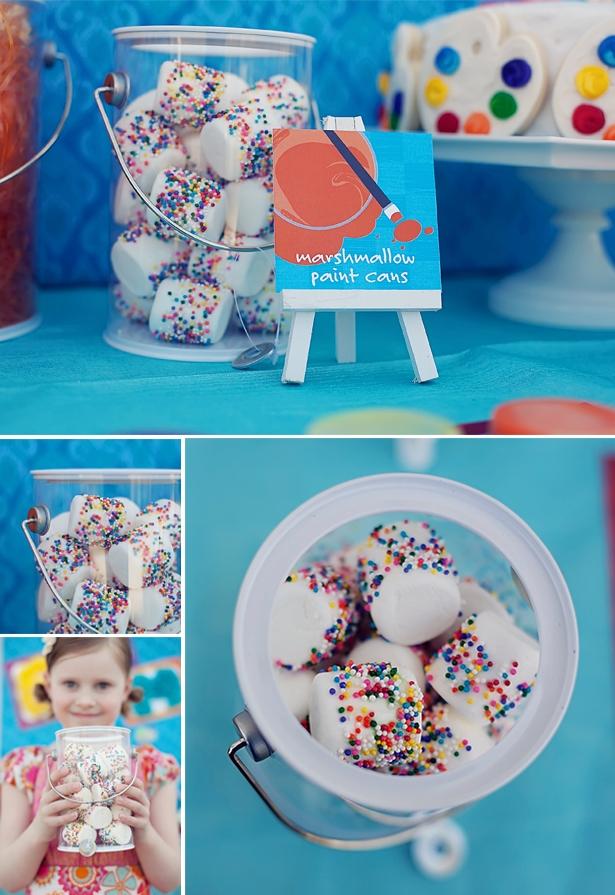 The celebration shoppe art party marshmallow paint cans