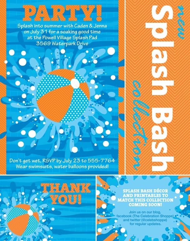 The celebration shoppe splash bash invitation