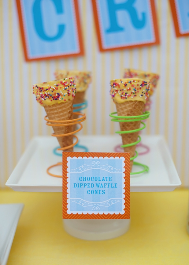 The celebration shoppe ice cream party chocolate dipped waffle cones