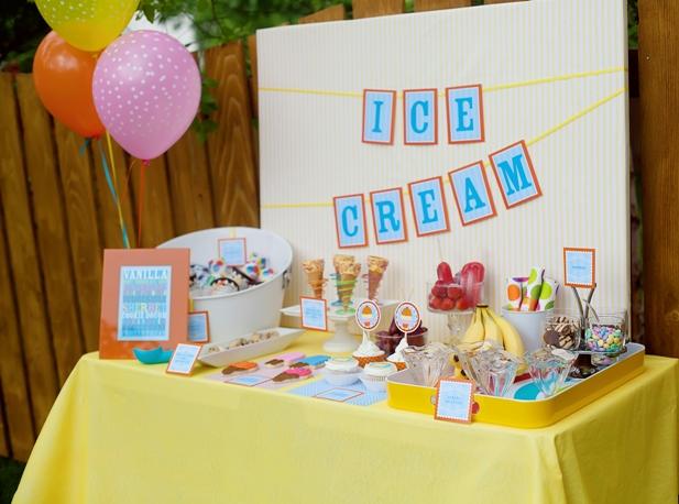 The celebration shoppe ice cream party dessert table