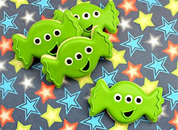 Little green space alien cookies by ssb