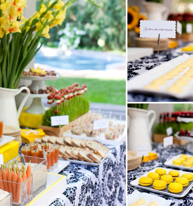 Black yellow engagement party desserts