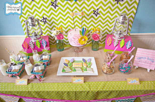 Camp birthday party dessert table