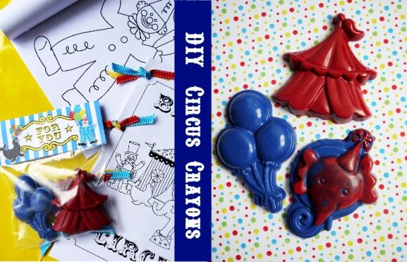 Diy circus crayon party favor by birds party
