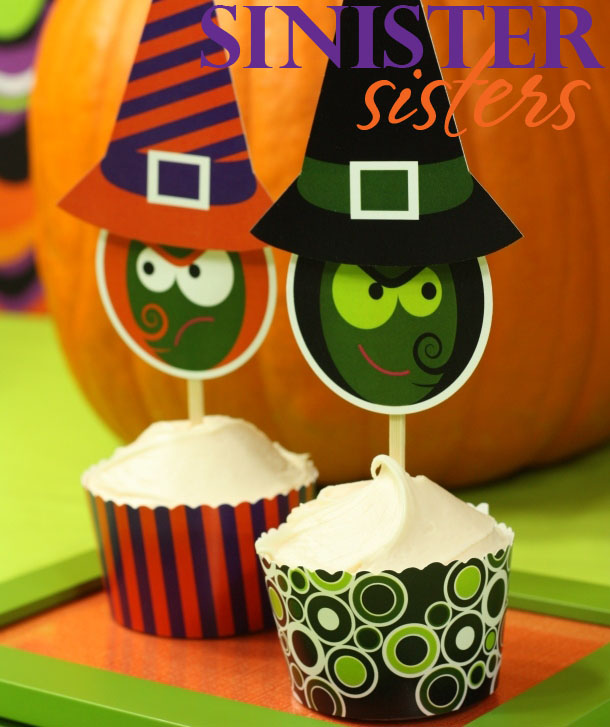 Sinister Witch Sisters Cupcake Picks and Cupcake Wrappers | Kim Byers