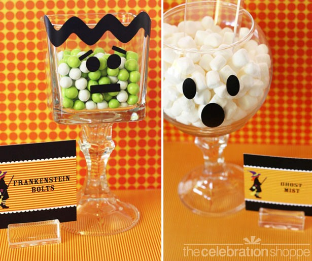 The celebration shoppe ghost and frankenstein monster pedestal jars