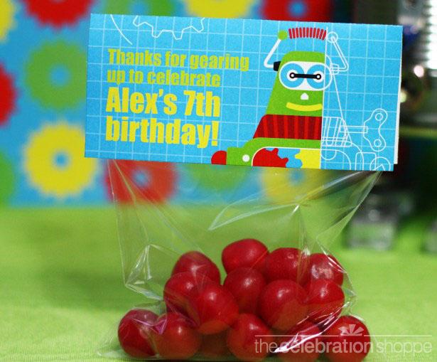 The celebration shoppe robot birthday cello toppers 1554 wl1