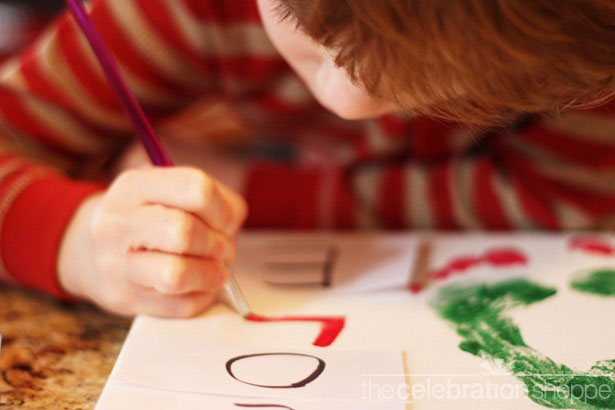 Christmas tree footprint art name 2 0483 wl