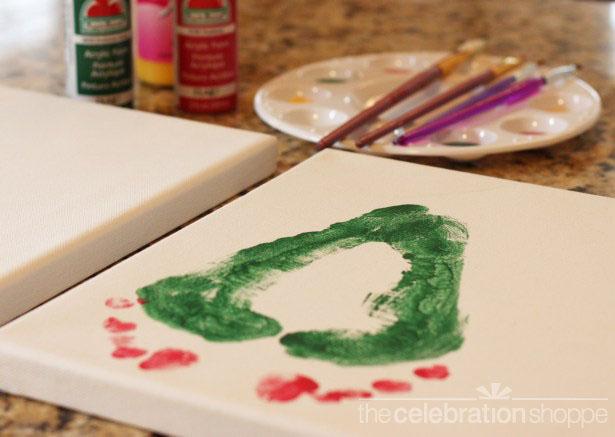 Christmas tree footprint art painted foot 0470 wl