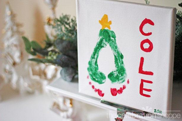 Christmas tree footprint art wl