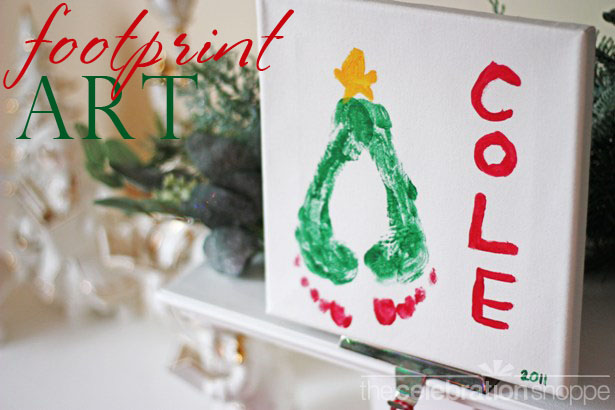 Christmas tree footprint art wt