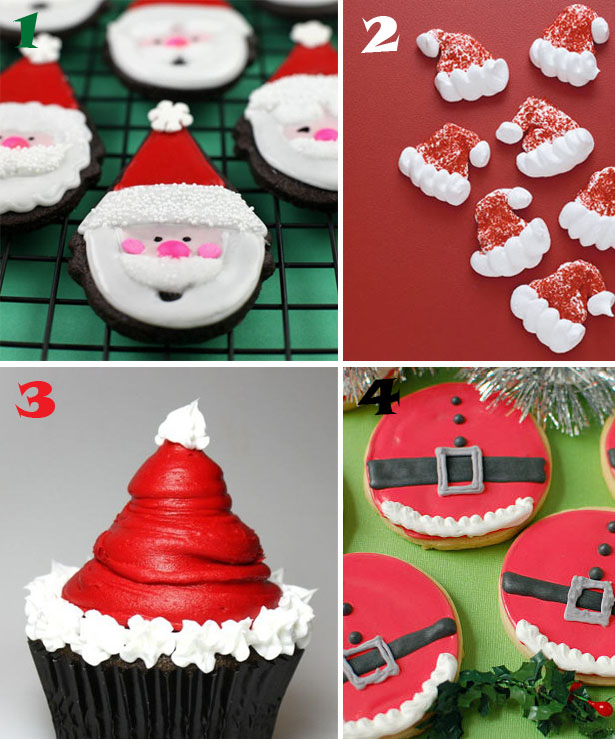 Easy santa cookie and cupcake ideas wt