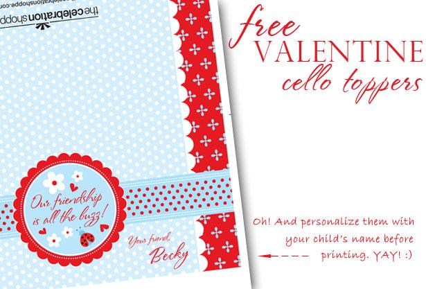 The celebration shoppe free valentine lovebug ladybug cello toppers