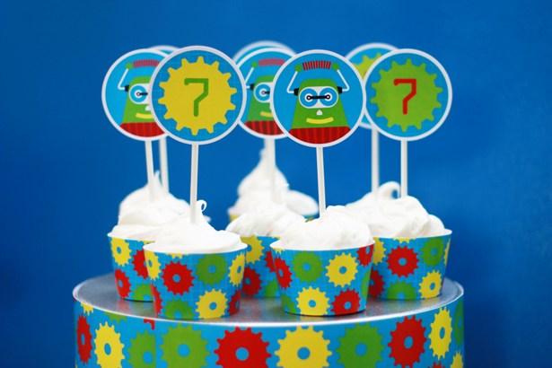The celebration shoppe robot birthday cupcakes 1015 sm