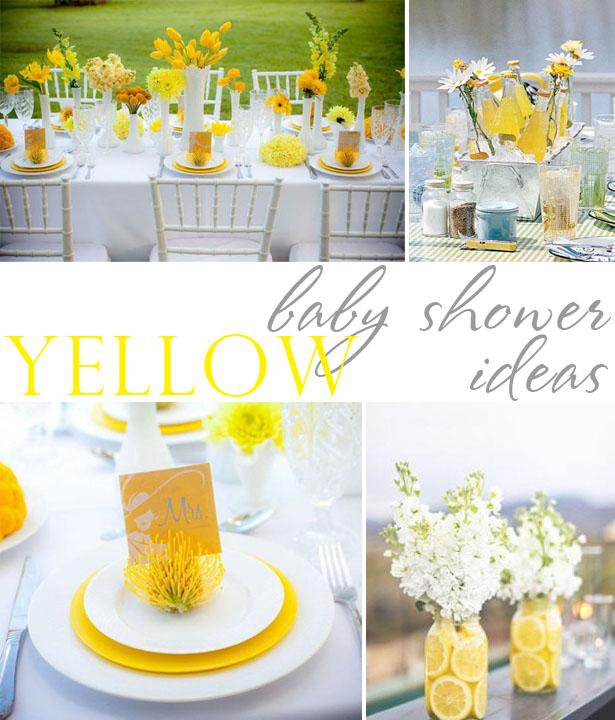 Yellow grey black baby shower ideas