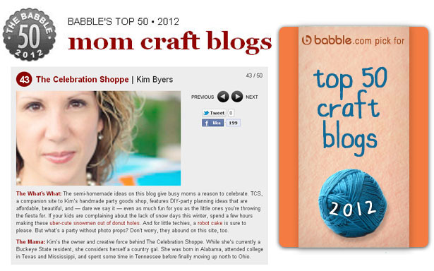 The celebration shoppe named one of babbles top 50 craft blogs