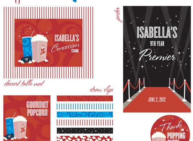 The celebration shoppe movie party printable supplies