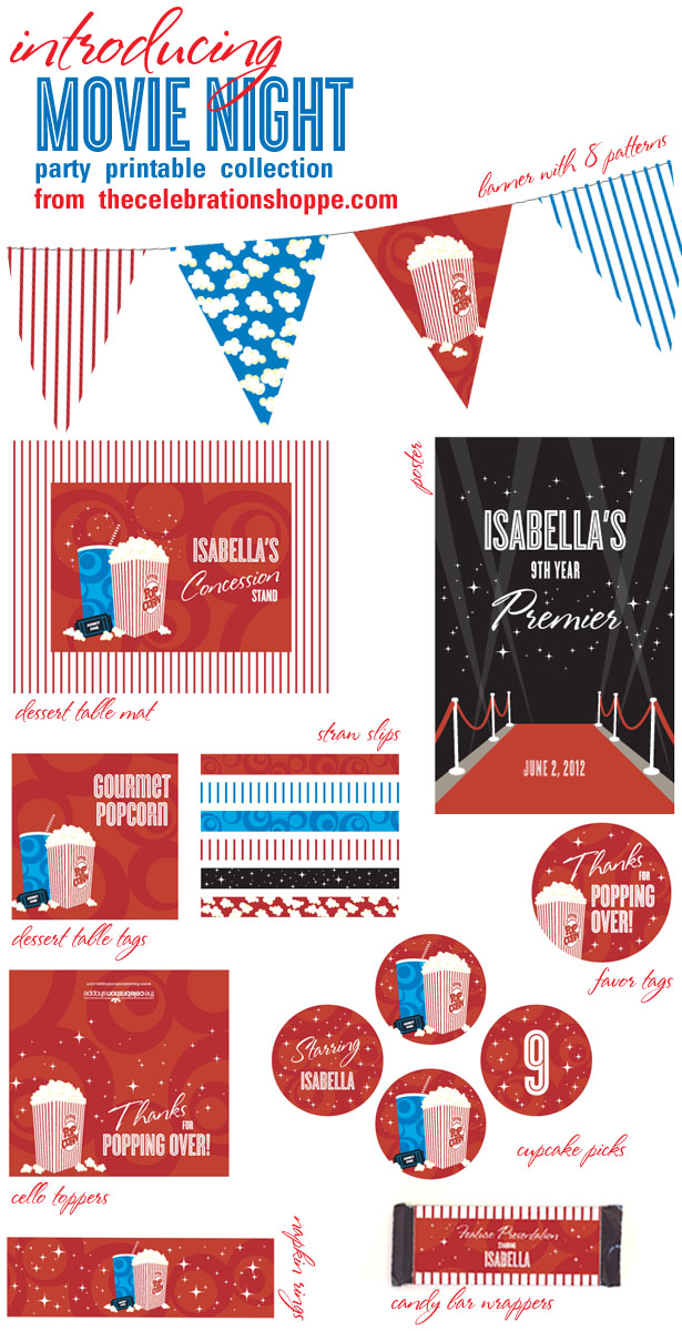 The celebration shoppe movie party printable supplies