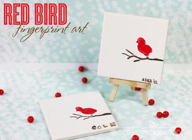 The celebration shoppe red bird fingerprint art 4752 wtwl